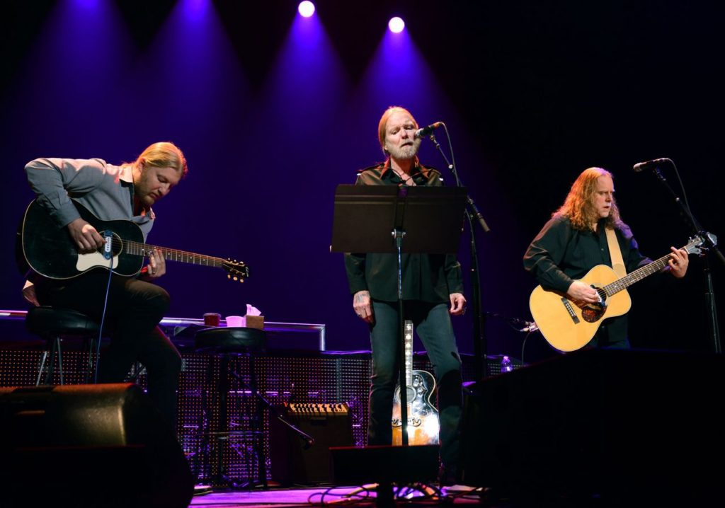 NEW YORK, NY - APRIL 13: Derek Trucks, Greg Allman and Warren Haynes perform on stage during the 2013  Crossroads Guitar Festival at Madison Square Garden on April 13, 2013 in New York City.  (Photo by Kevin Mazur/WireImage) *** Local Caption *** Derek Trucks; Greg Allman; Warren Haynes